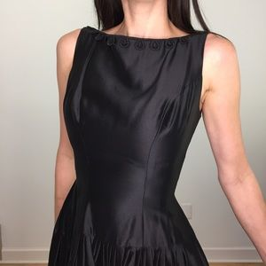 Vintage 50's Black Sateen Drop Waist Dress